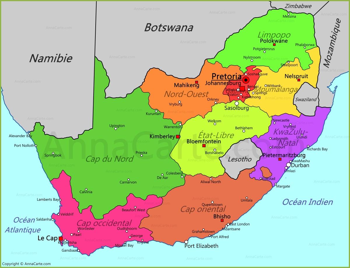 Bien-aimé Carte Afrique du Sud - AnnaCarte.com EW79