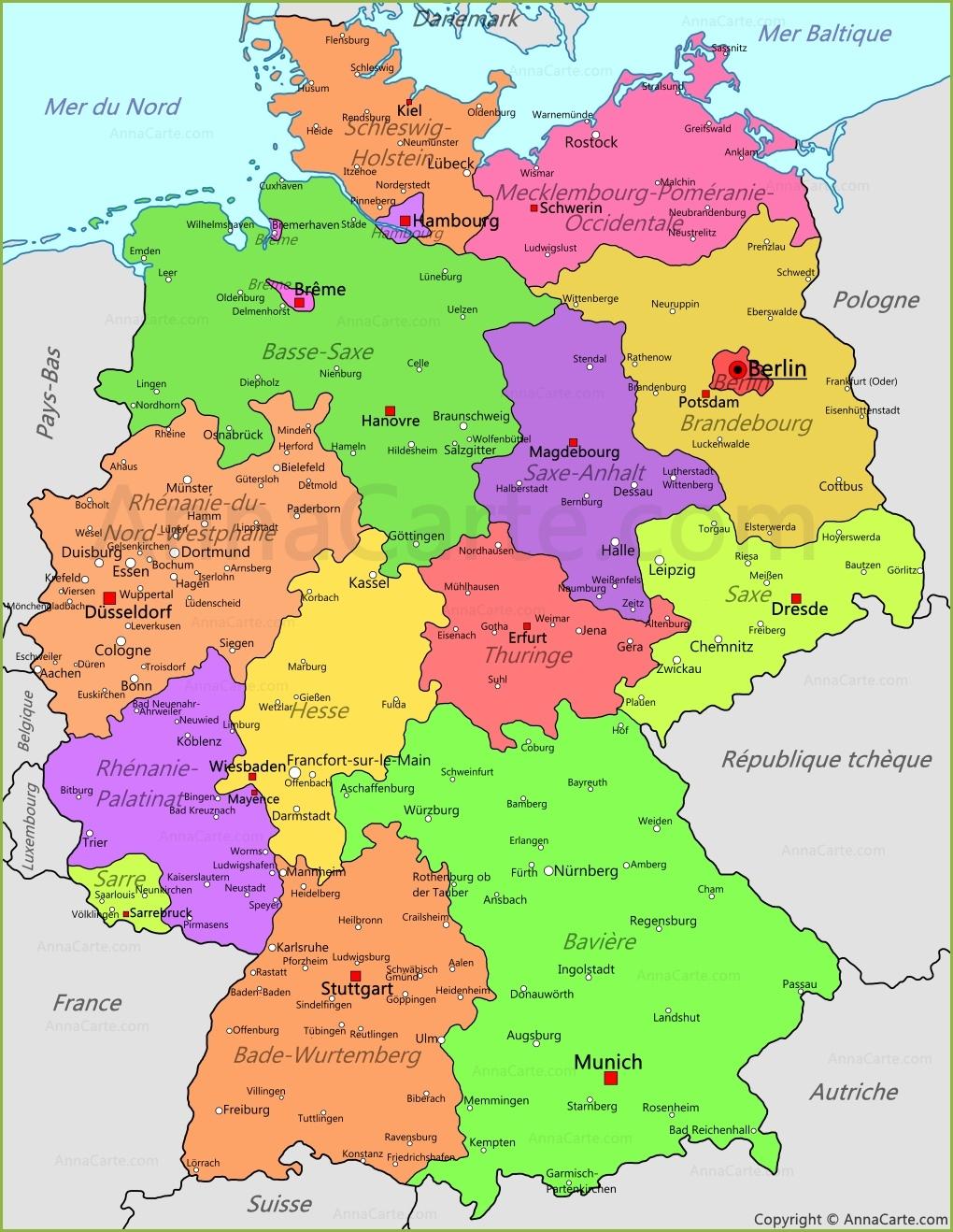 Carte Allemagne Avec Lander.Allemagne Carte Voyages Cartes