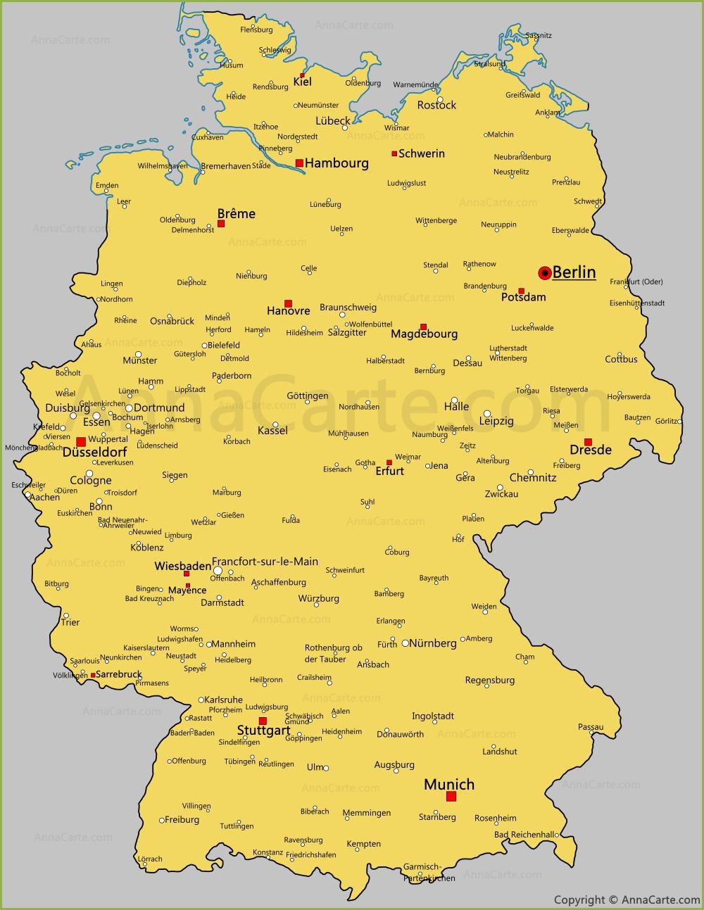 Carte De L Allemagne Autriche Suisse Villes