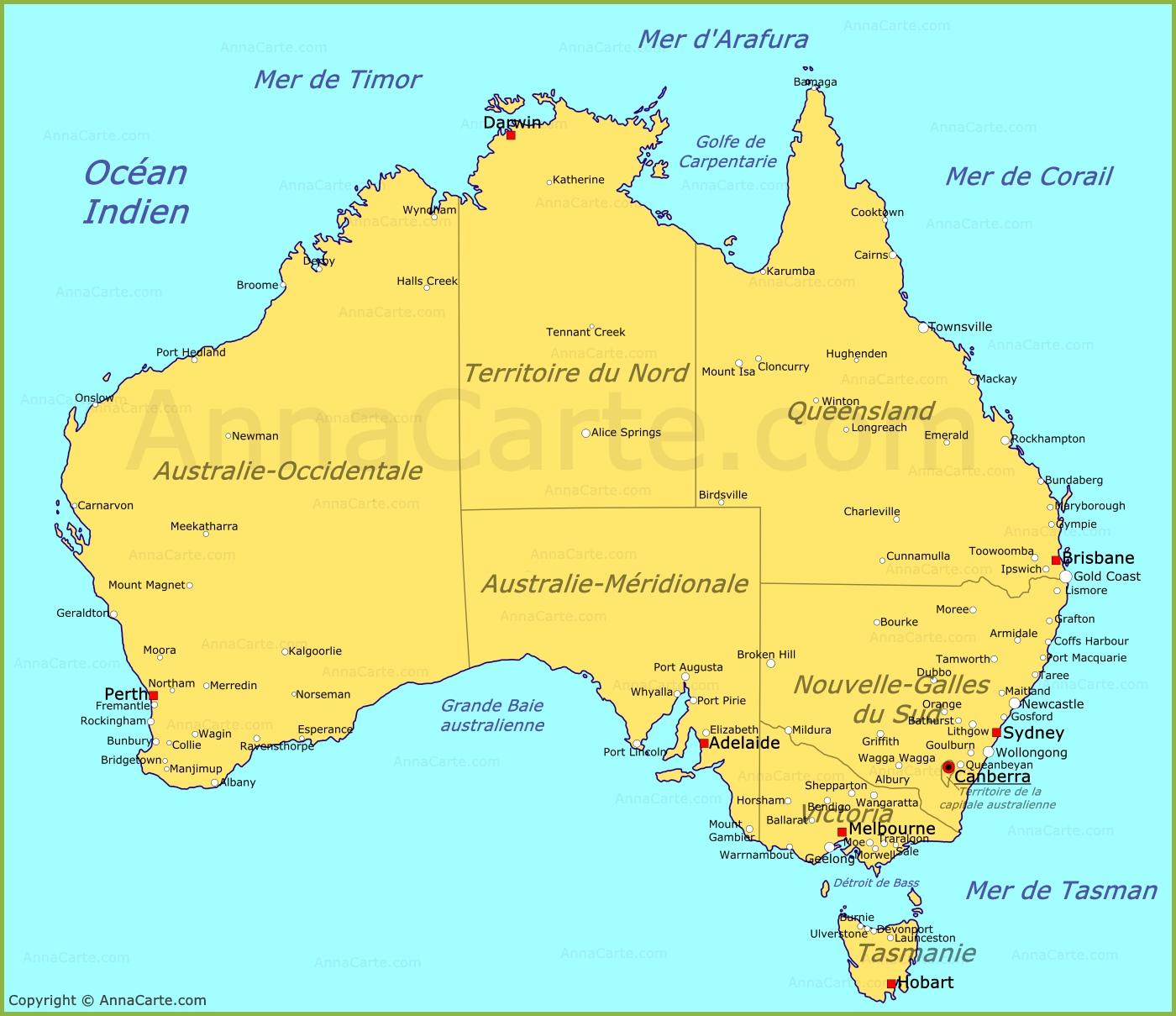 Carte Australie Grande Ville.Carte Australie Plan Australie Annacarte Com