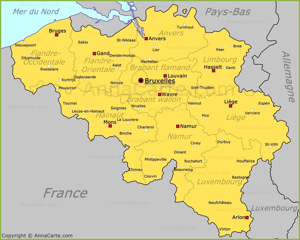 carte belgique Carte Belgique | Plan Belgique   AnnaCarte.com