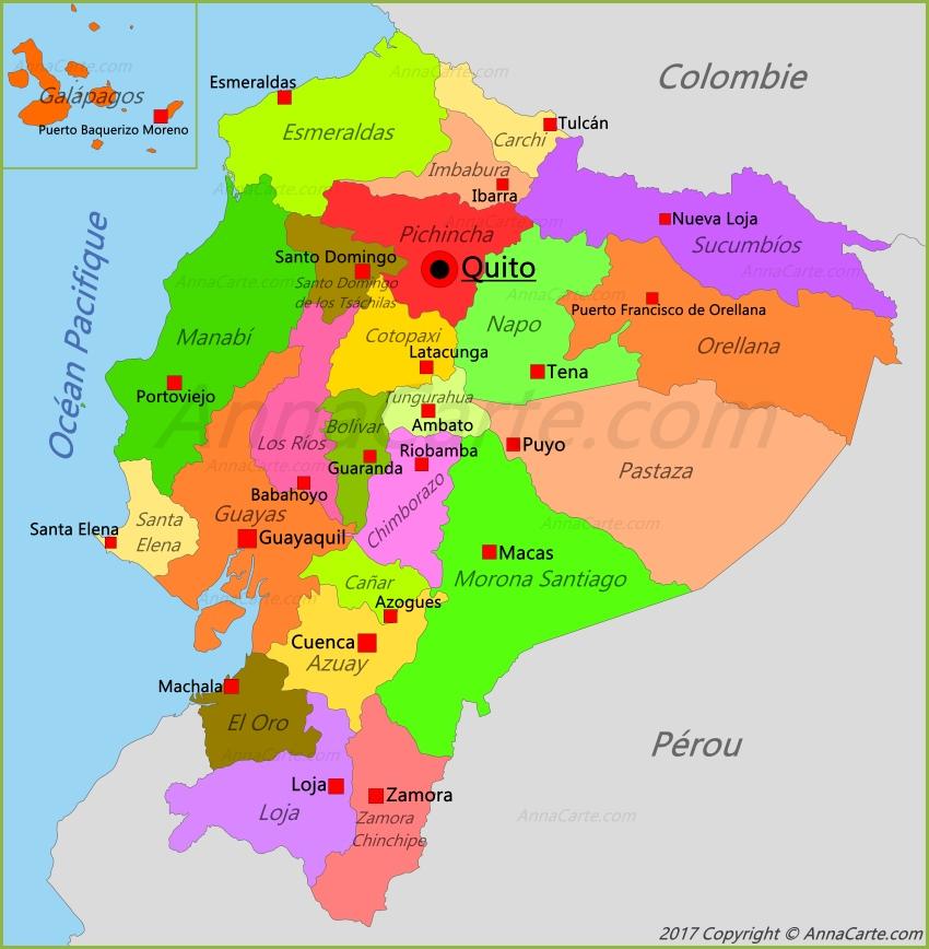 Carte Équateur - AnnaCarte.com