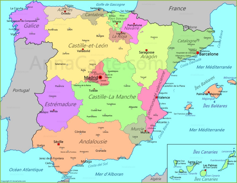 Carte Espagne Annacarte Com