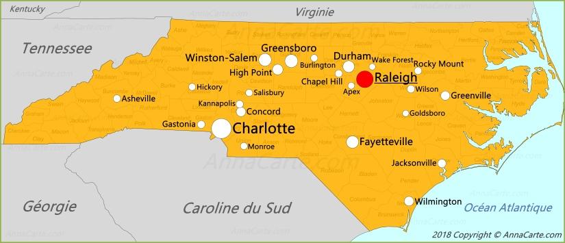 caroline du sud carte Carte Caroline du Nord | États Unis   AnnaCarte.com