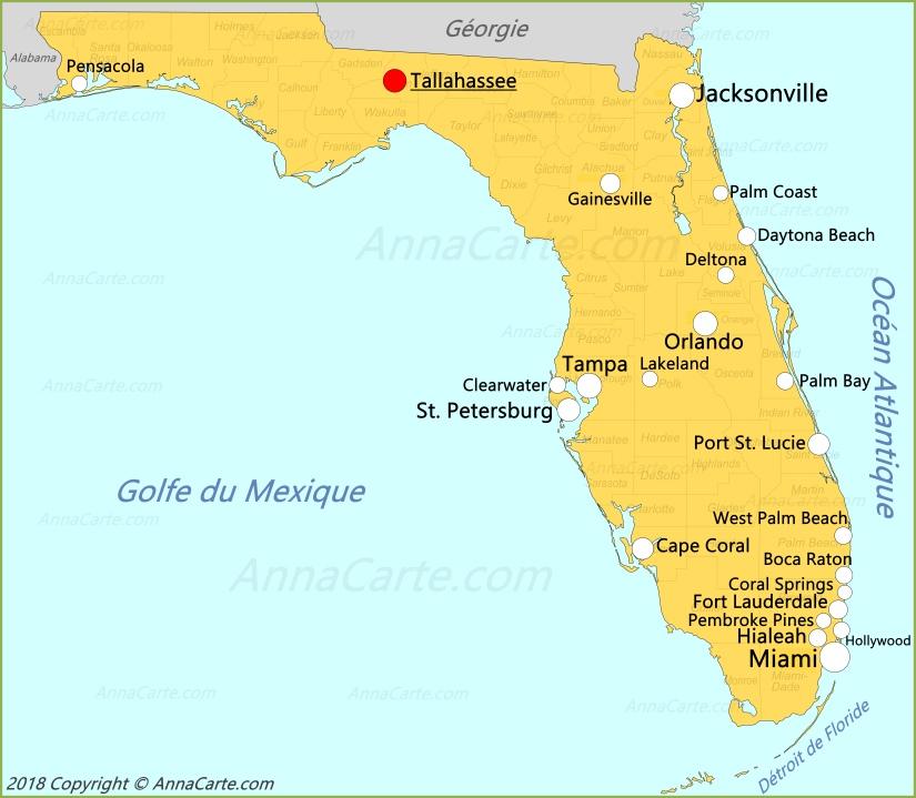 Carte Amerique Floride.Carte Floride Etats Unis Annacarte Com