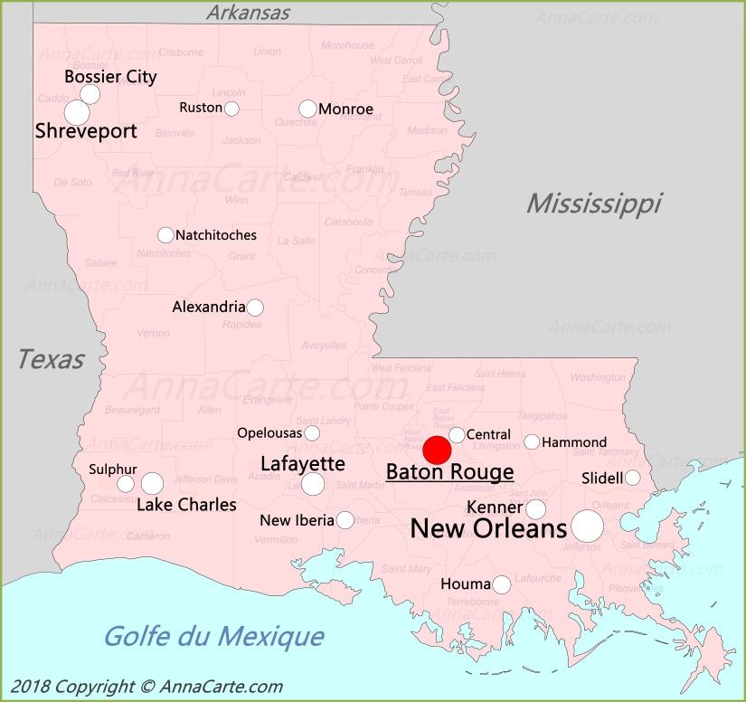 La louisiane carte états unis