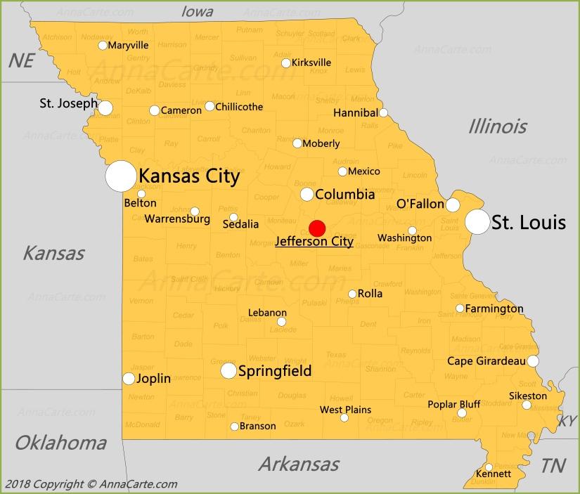 Carte Missouri Etats Unis Annacarte Com