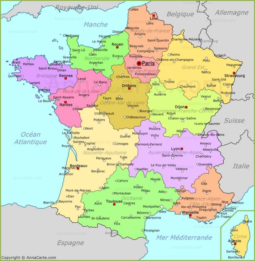 Carte France | Plan France - AnnaCarte.com