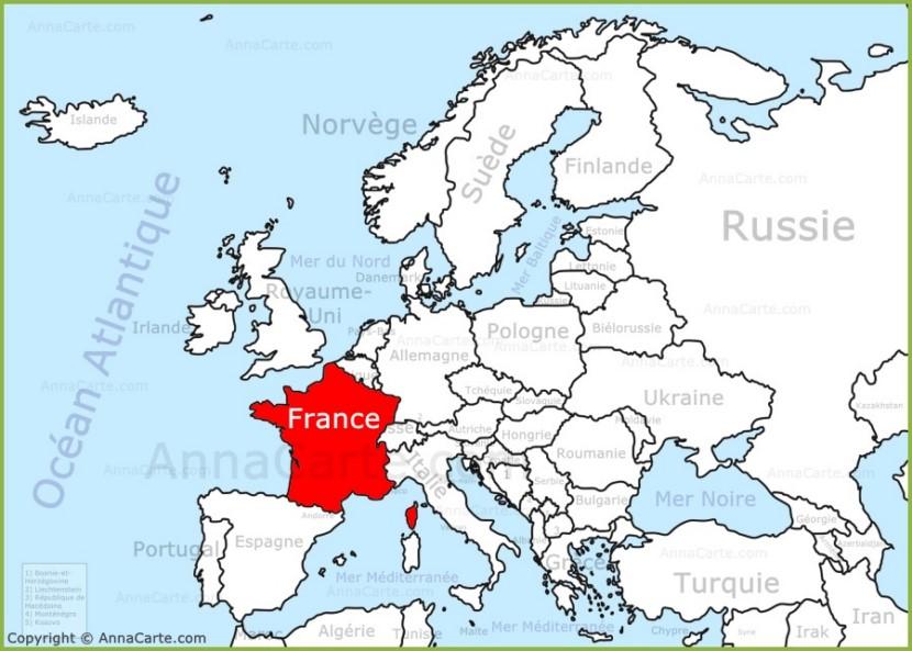 France sur la carte de l'Europe - AnnaCarte.com