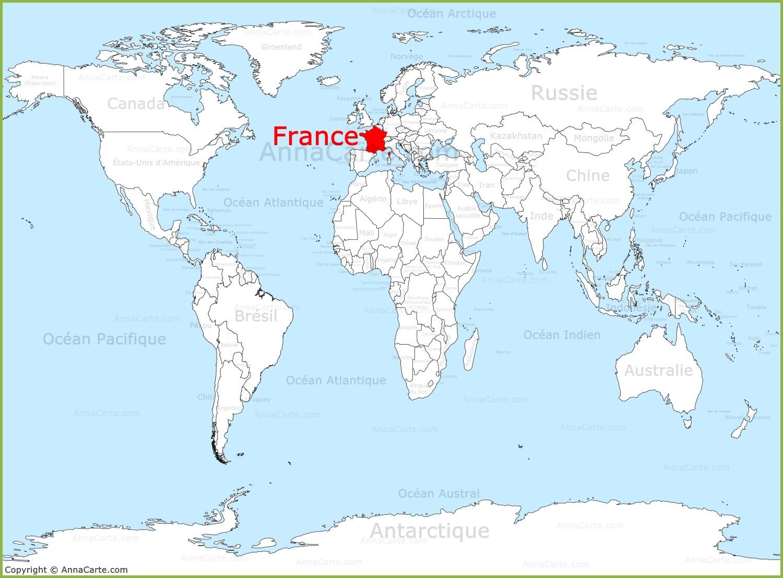 france sur la carte du monde.