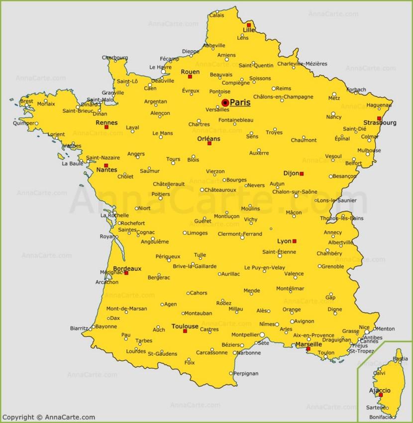Carte des villes de France | Villes de France sur la carte - AnnaCarte.com