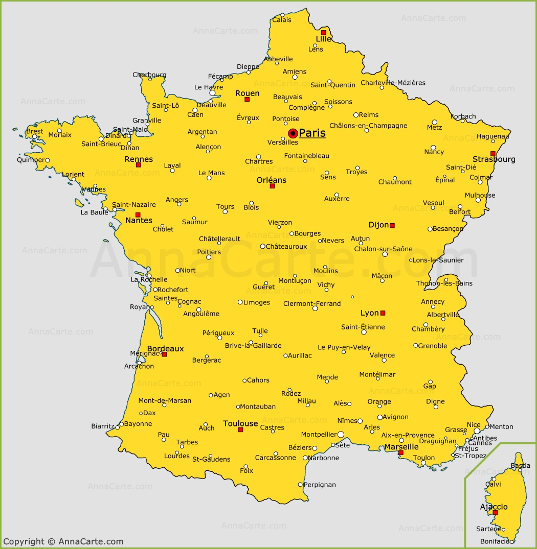 carte france ville