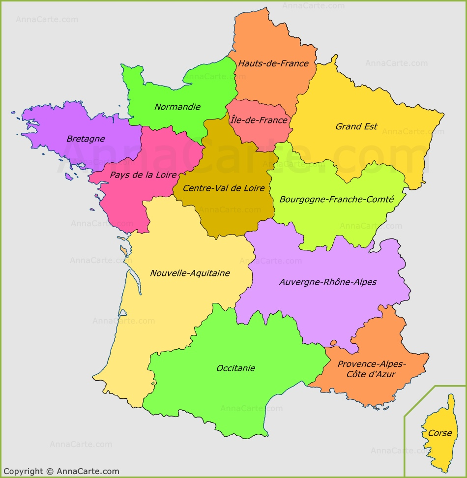 Carte Des Regions De France Les Regions Francaises Annacarte Com