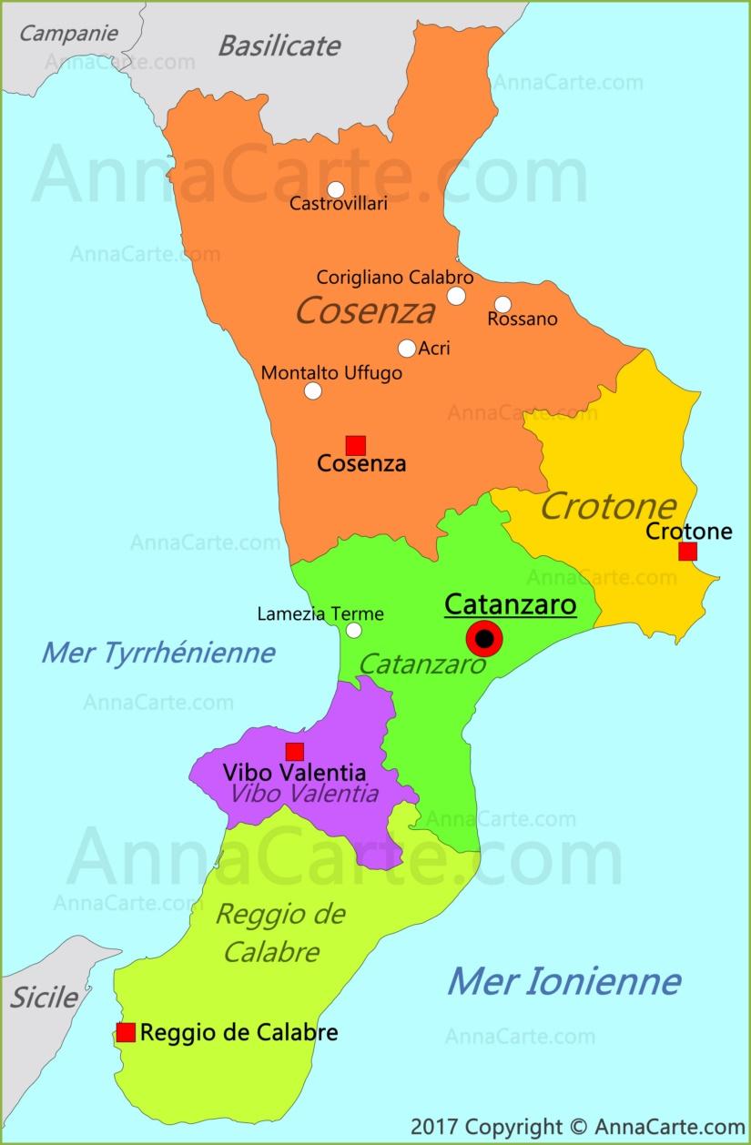Carte Italie Calabre.Carte De Calabre Italie Annacarte Com