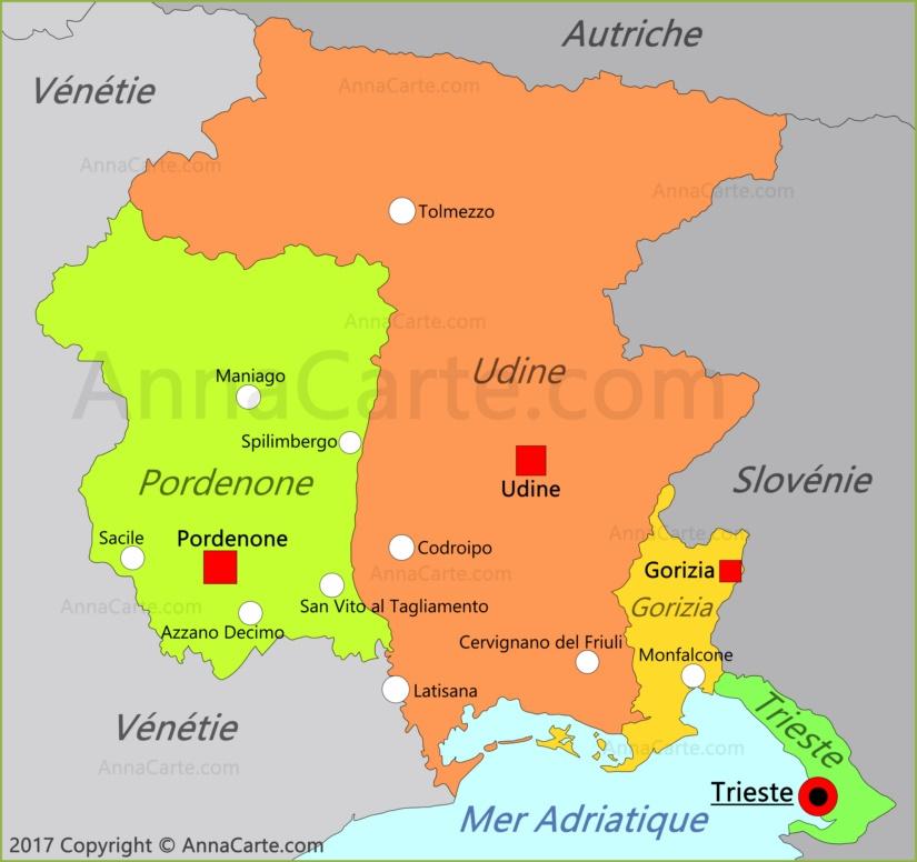 Carte du Frioul-Vénétie julienne