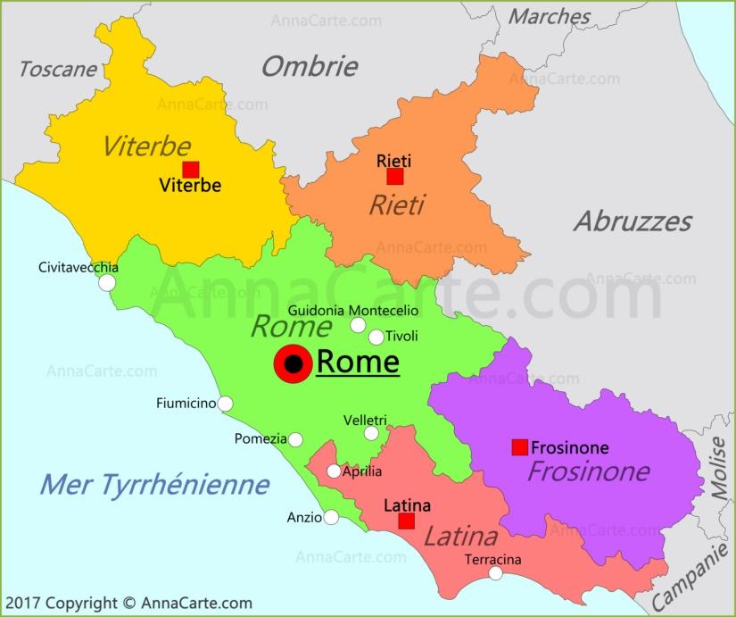 Carte du Latium | Italie   AnnaCarte.com