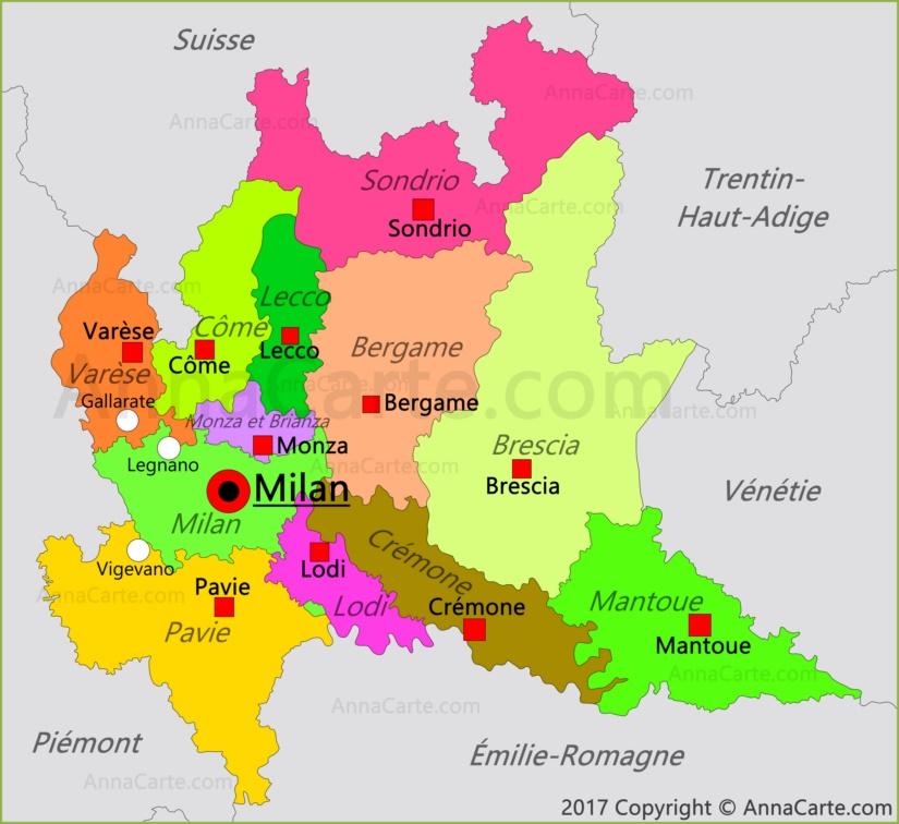 Carte Italie Du Nord Lombardie.Carte De Lombardie Italie Annacarte Com