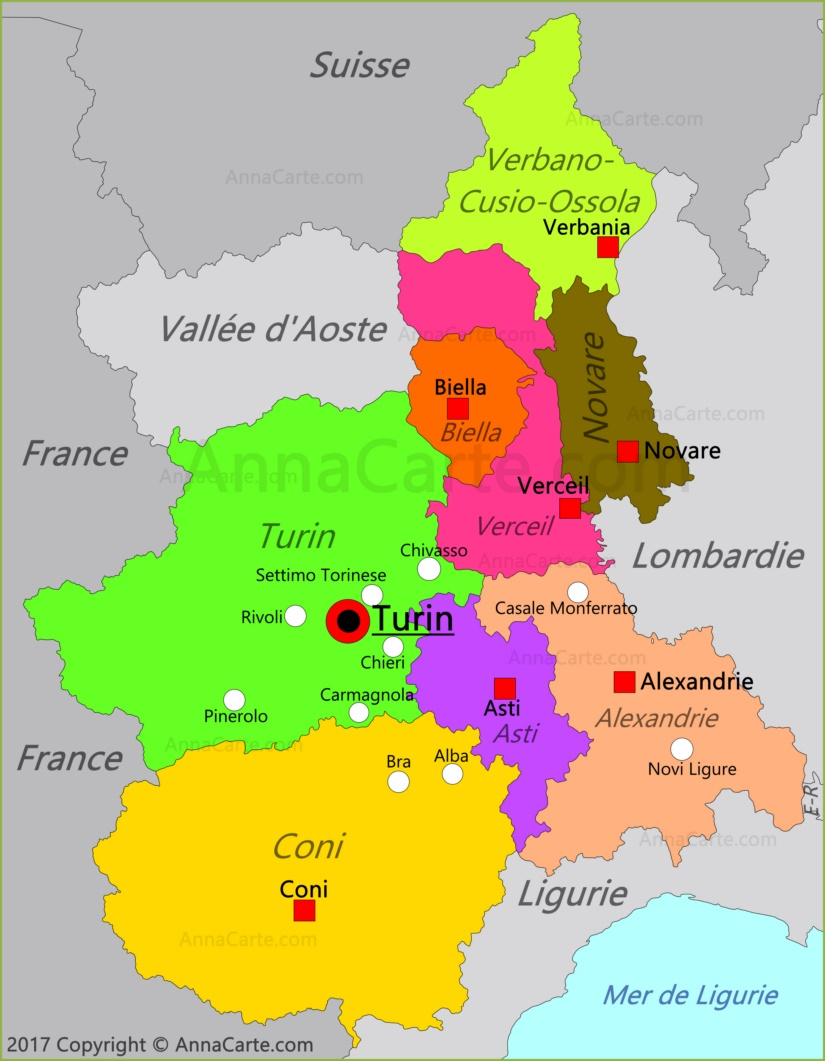 Carte du Piémont | Italie   AnnaCarte.com