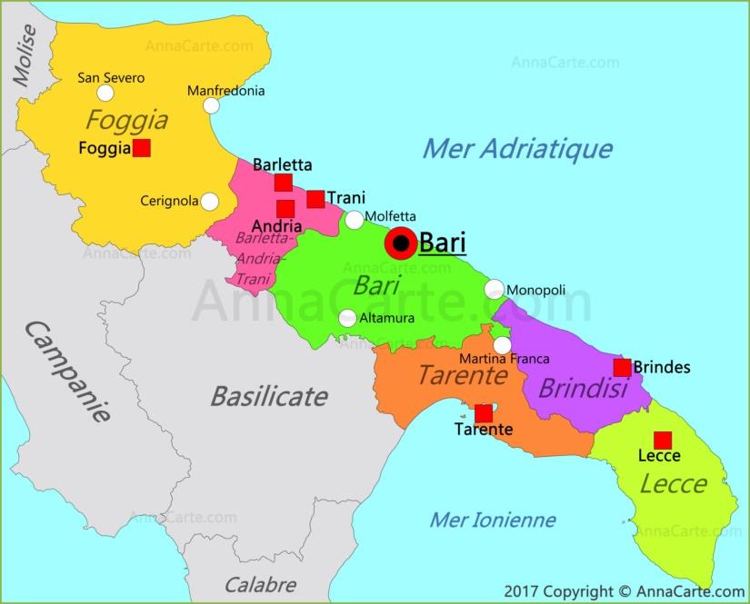 carte des pouilles italie Carte des Pouilles | Italie   AnnaCarte.com