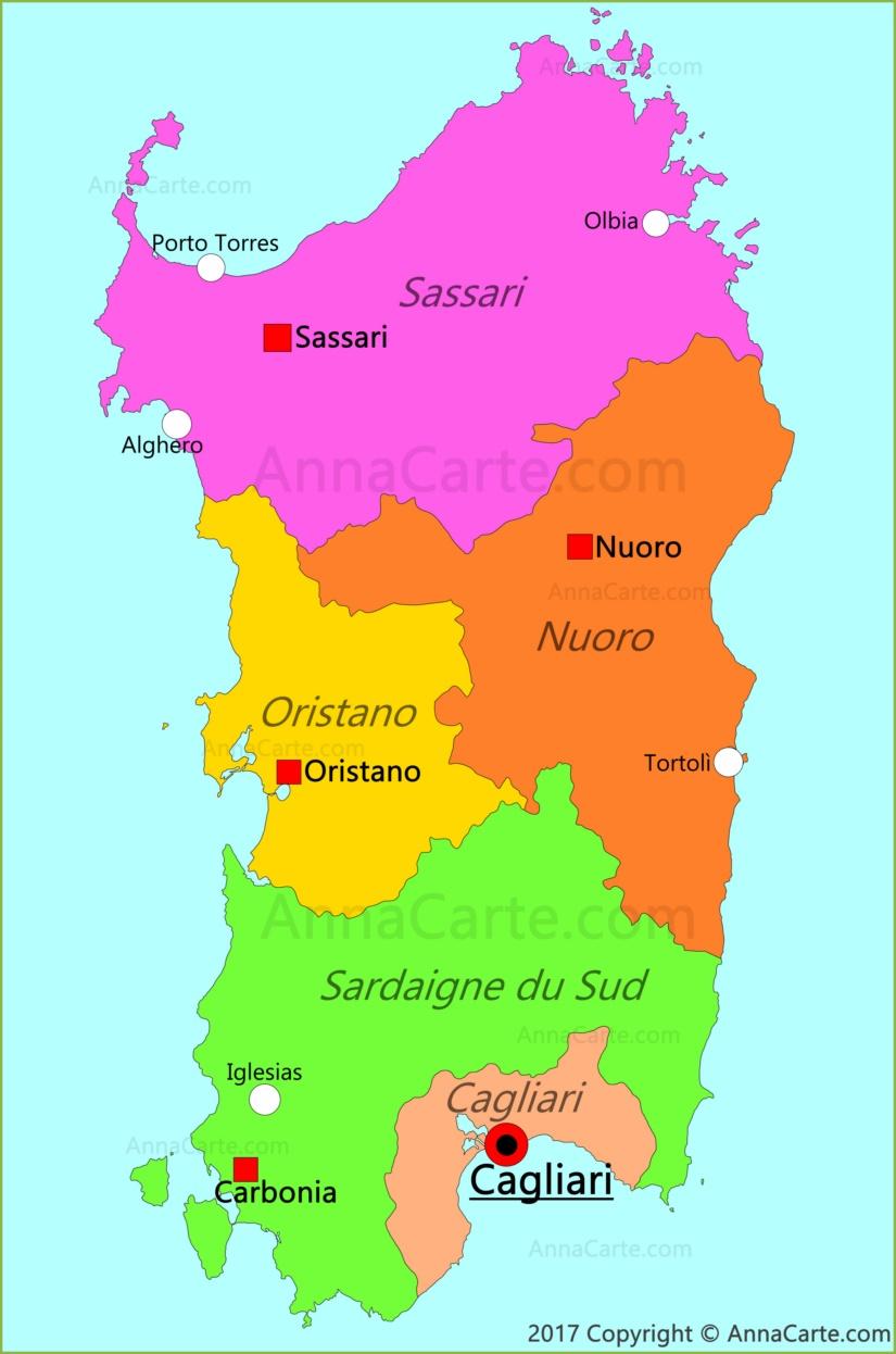 Carte Italie Et Sardaigne.Carte De La Sardaigne Italie Annacarte Com
