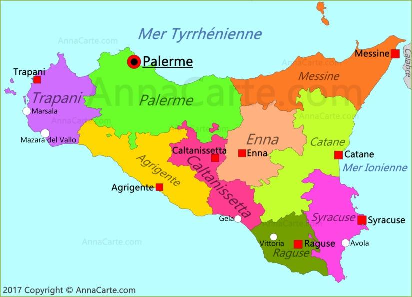 Carte Sicile.Carte De La Sicile Italie Annacarte Com
