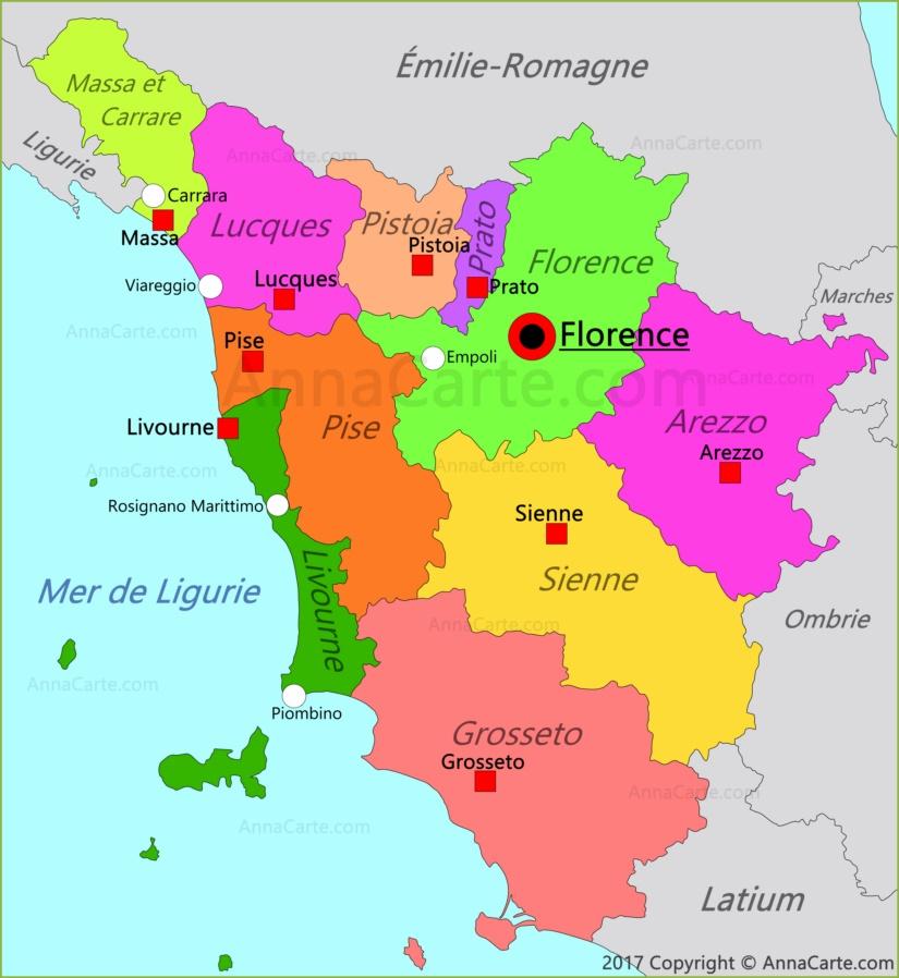 Carte de Toscane | Italie   AnnaCarte.com