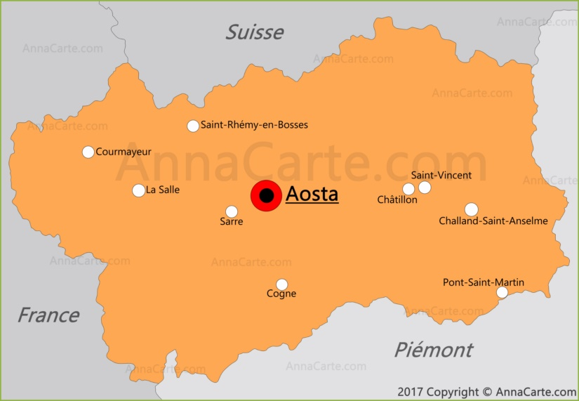 Carte de la Vallée d'Aoste
