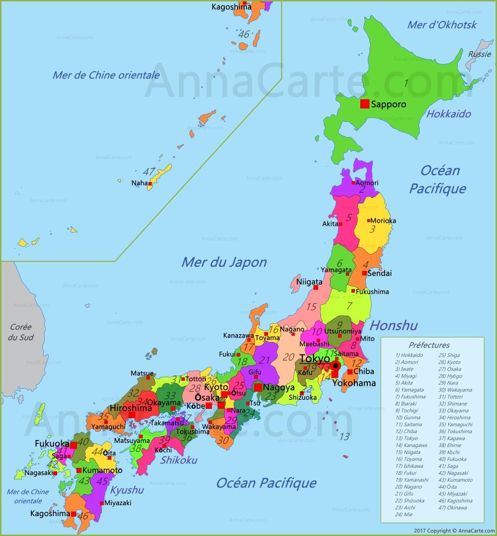 Carte Japon   AnnaCarte.com