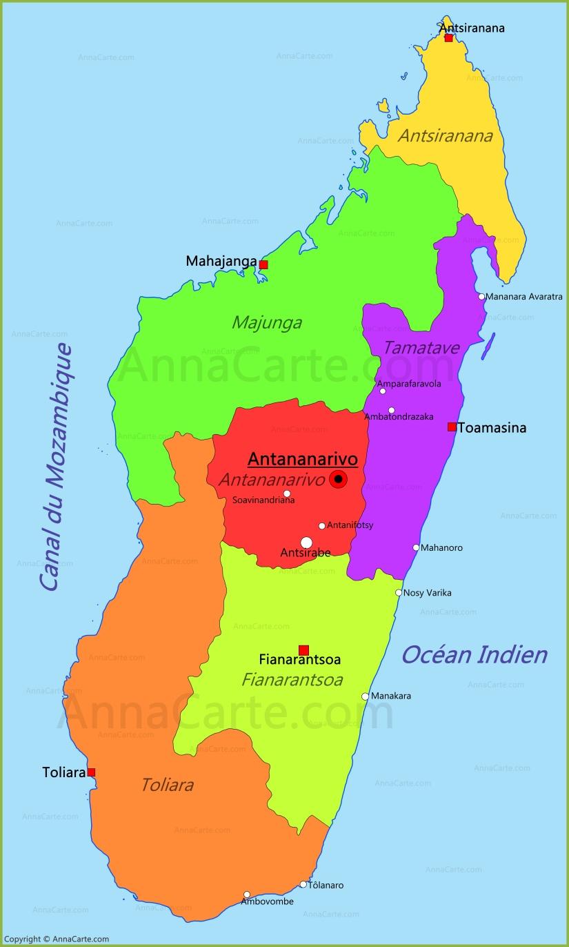 Carte Madagascar Tananarive.Carte Madagascar Annacarte Com