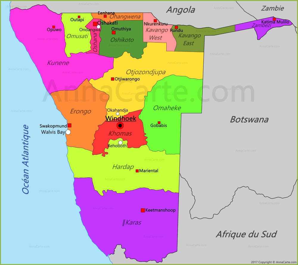 Carte Afrique Du Sud Namibie.Carte Namibie Annacarte Com