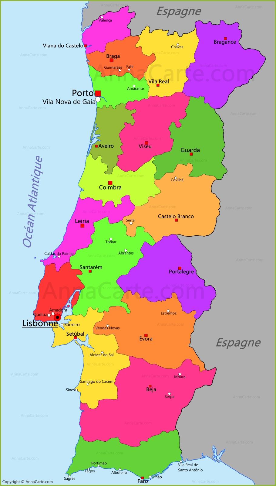 Lisbonne carte du portugal