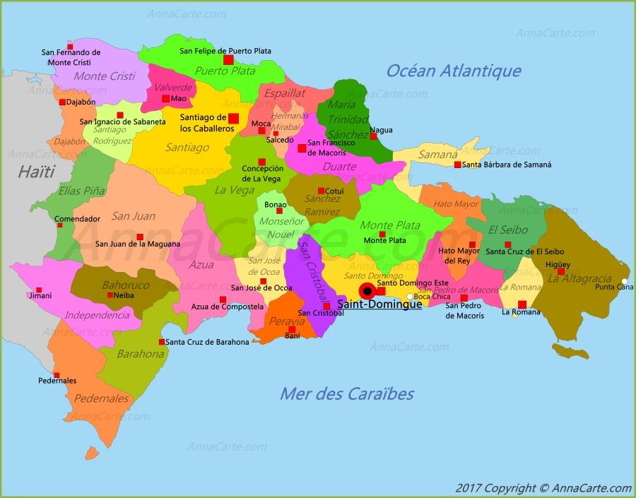 carte de la république dominicaine Carte République dominicaine   AnnaCarte.com