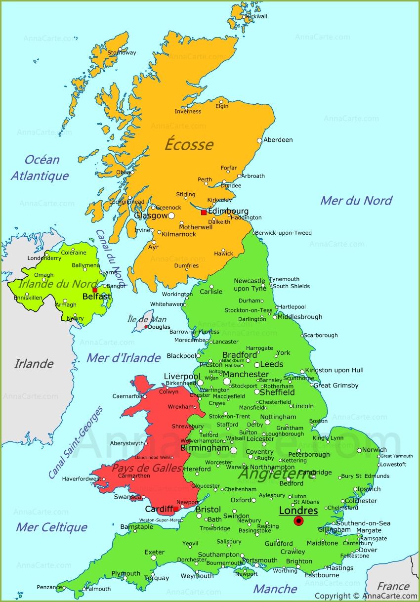 Royaume-Uni de Grande-Bretagne et d'Irlande du Nord/ United Kingdom of Great Britain and Northern Ireland Royaume-uni-carte