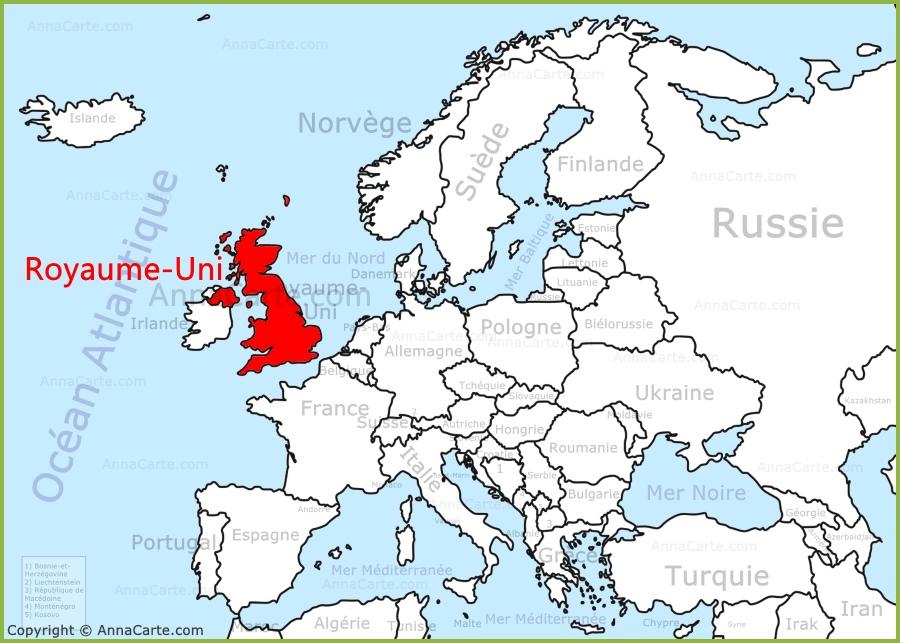 Carte Du Monde Unie.Royaume Uni Sur La Carte De L Europe Annacarte Com