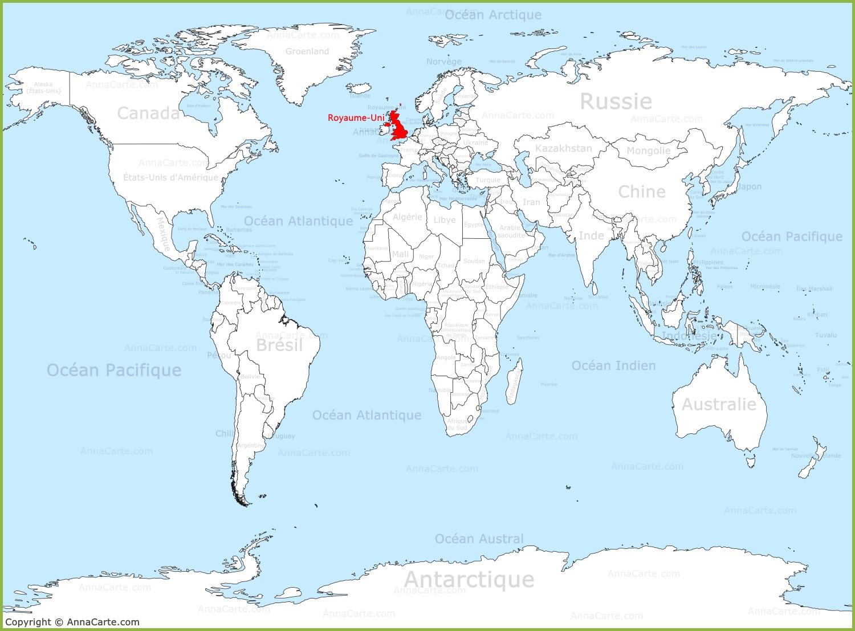 Carte Du Monde Unie.Royaume Uni Sur La Carte Du Monde Annacarte Com