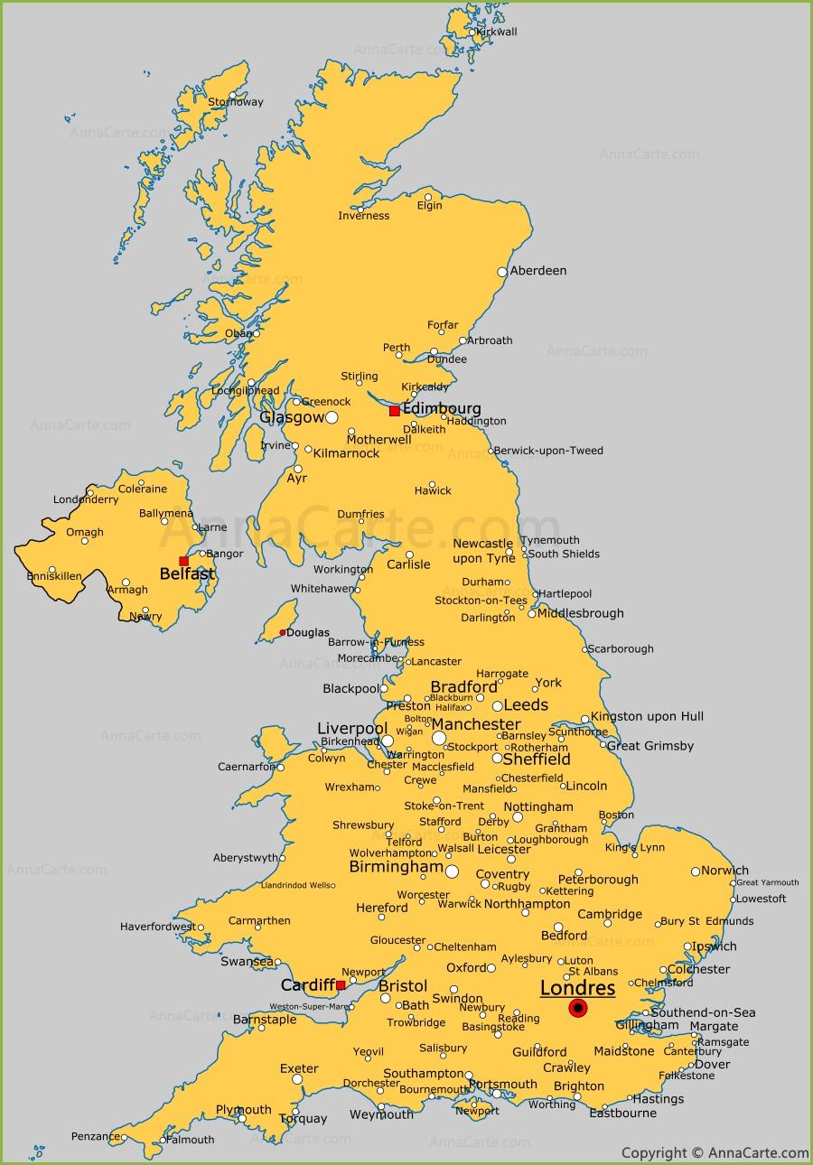 Carte Royaume Unis.Carte Des Villes Du Royaume Uni Villes Du Royaume Uni Sur