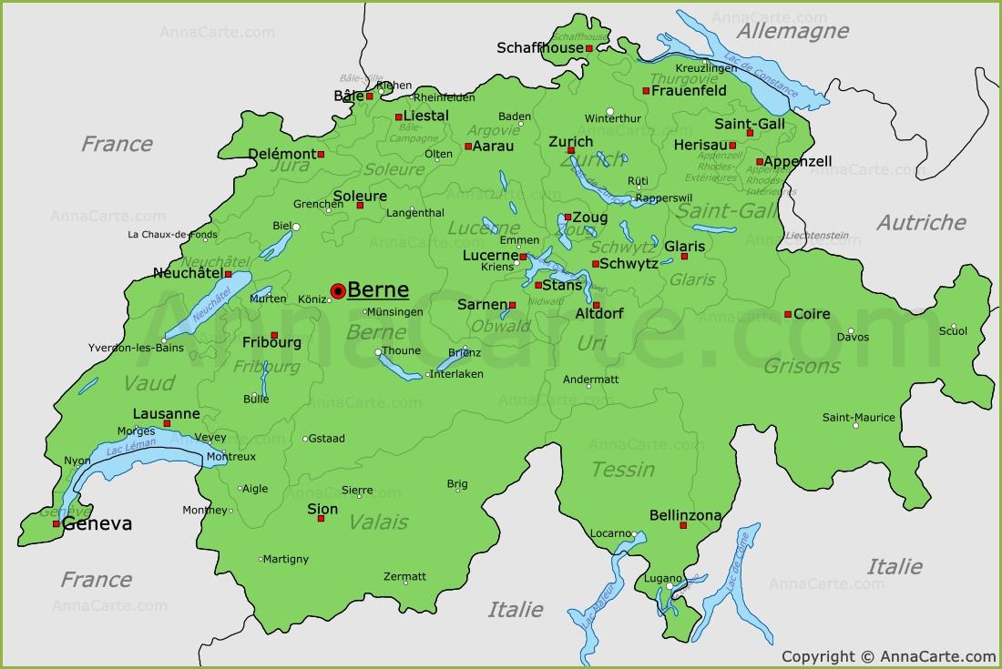 Carte Allemagne Suisse.Carte Suisse Plan Suisse Annacarte Com