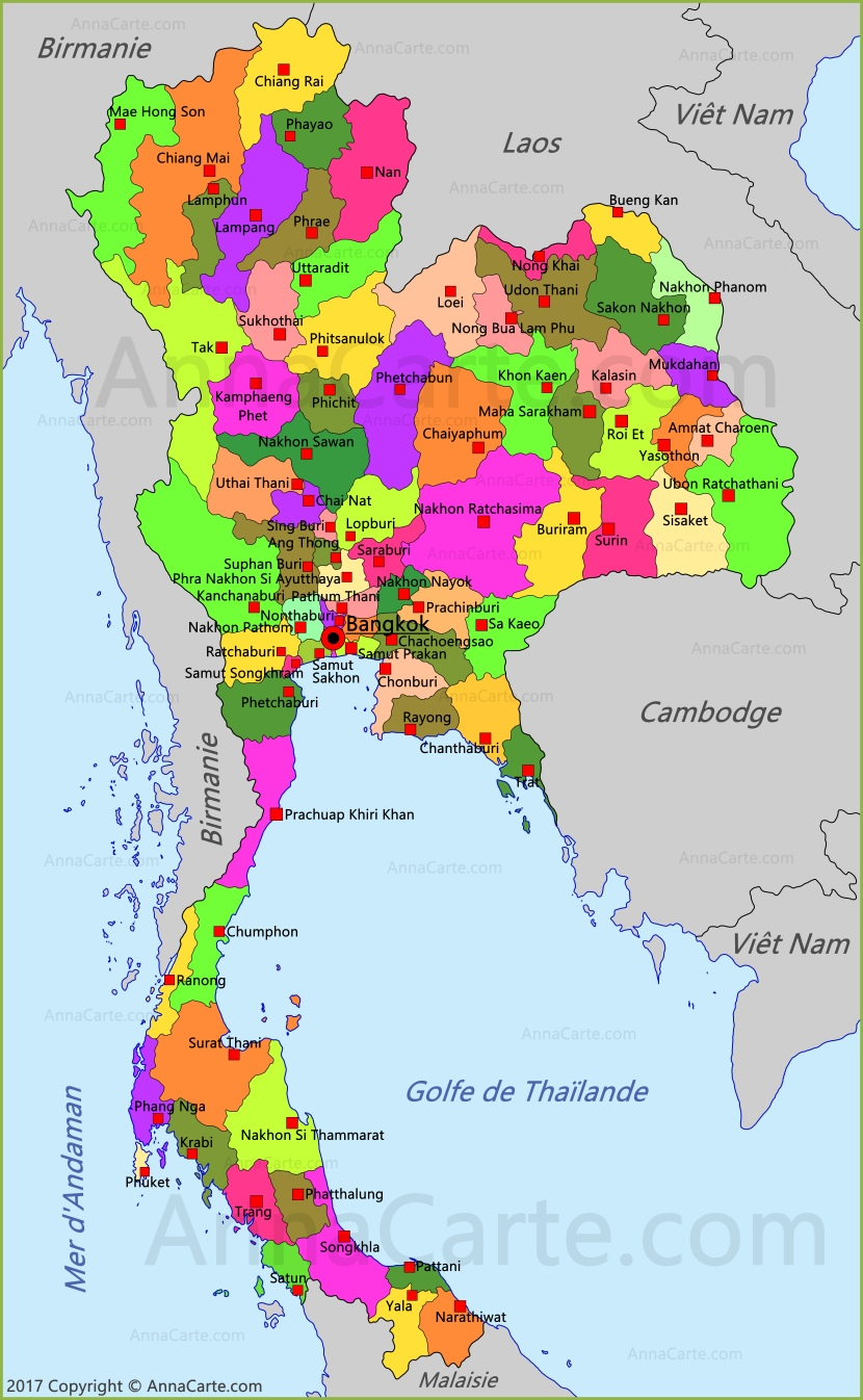 Carte Thailande Surat Thani.Carte Thailande Annacarte Com