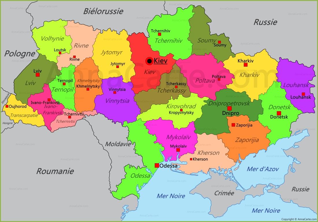 Carte Ukraine - AnnaCarte.com